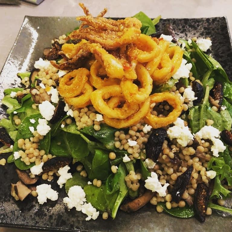 SOB Calamari Cous Cous Salad Greens Close Up