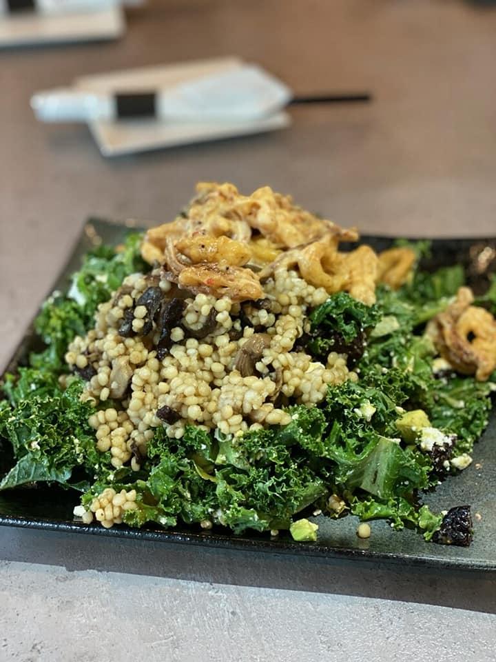 SOB Calamari Cous Cous Salad Greens