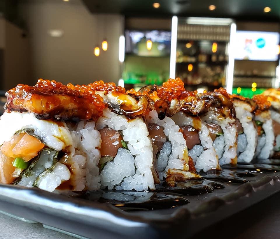 SOB Half Moon Sushi Roll Eel Unagi Masago Salmon